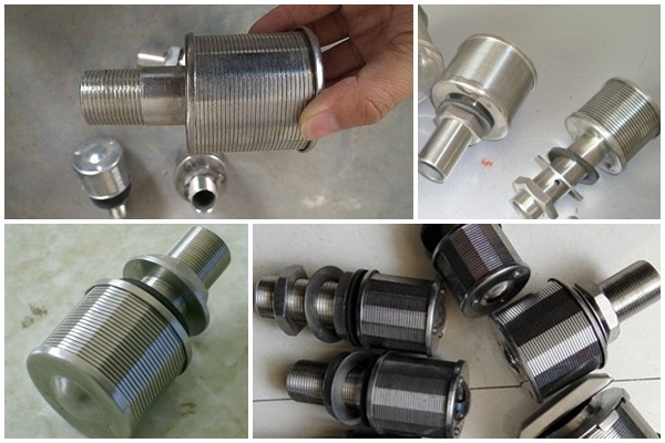 Wedge wire screen nozzle strainer for water filter tank