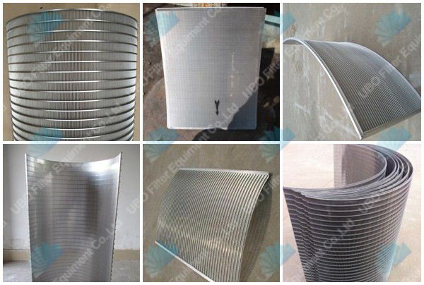 Wedge wire curve screen panel for food procesing