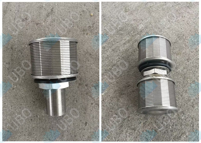 Wedge wire type media retention filter nozzle
