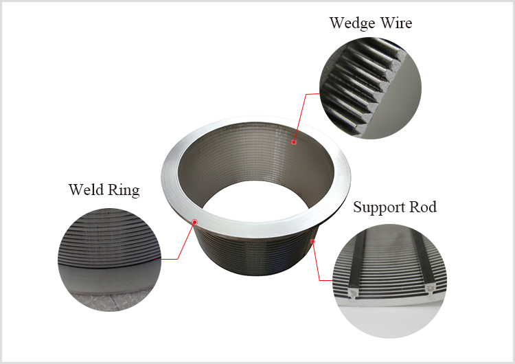 SS wedge vee wire screen basket cylinder