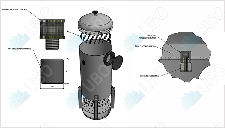 application of Johnson water filter nozzle wedge wire screen