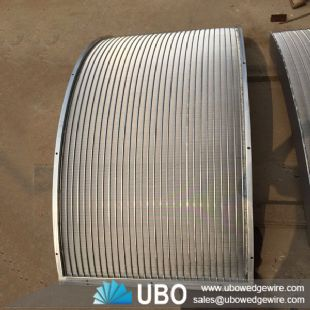 Wedge wire curved waste water treatment screen plate