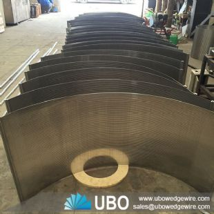 Sewage treatment wedge vee wire curved screen plate filter