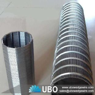 Wedge wire column strainer screen